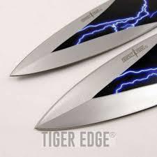 knife set 2 piece black blue thunderbolt kunai throwers with sheath