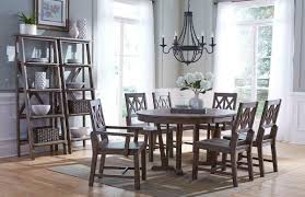 round dining room table with leaf rustic round weathered gray dining table with extension leaf by