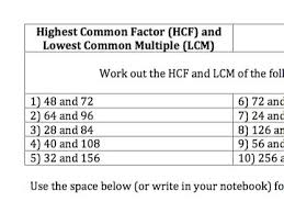 gcse maths hcf and lcm questions and answers by joki81