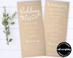 tea length wedding programs templates free ceremony program etsy