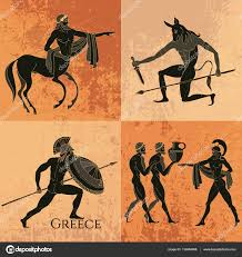 ancient greek mythology set ancient greece scene u2014 stock vector