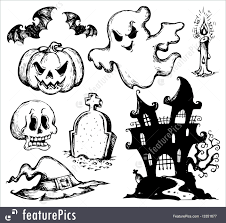 halloween line drawings illustration of halloween drawings collection 1