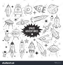 collection sketchy space objects on white stock illustration
