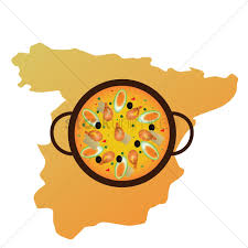 Spain Map Spain Map And Paella De Arroz Vector Image 1565519 Stockunlimited