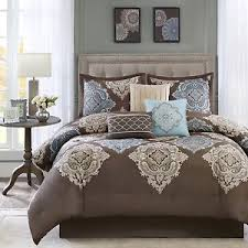 eastern king comforter set 7 contemporary brown bedding