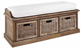 entryway bench with baskets and cushions best wicker storage bench with cushion and three storage baskets