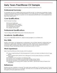 Example Of Resume Skills And Qualifications by Early Years Practitioner Cv Sample Myperfectcv