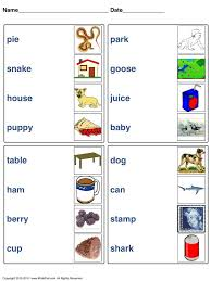 match words with picture worksheets for different lessons
