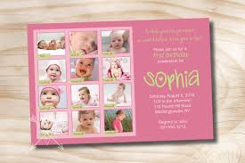 1st Birthday Card Invitation First Birthday Photo Montage Birthday Party Event Printable