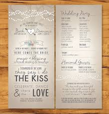 long skinny wedding programs with non tradition ceremony