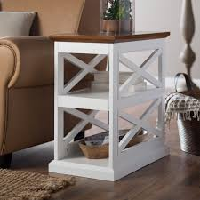 Chair Side Tables With Storage Belham Living Hton Chair Side Table White Oak Hayneedle