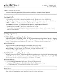 Chef Resume Example Waiter Resumes Plush Server Resume Skills 6 Unforgettable Lane