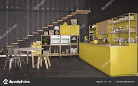 White And Yellow Kitchen Minimalist White And Yellow Wooden Kitchen Loft With Stairs Cl