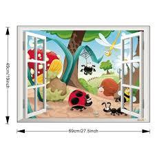 window view cartoon insects kids nursery wall sticker