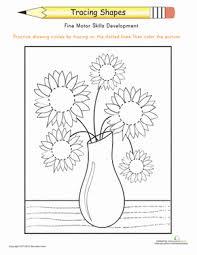trace the flowers u0027 shapes worksheet education com