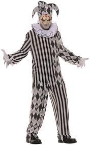 scary evil harlequin clown teen men halloween costume