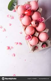 pink easter eggs pink easter eggs on light background copyspace still photo of