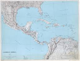 Map Of The Carribean Large Scale Political Map Of The Caribbean America With Relief