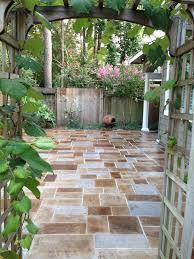 Flagstone Patio With Pergola Stamped Concrete Patio With Pergola Entry Rustic With Stone