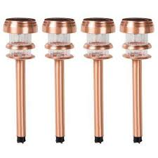 copper solar lights outdoor copper solar landscape lighting outdoor lighting the home depot