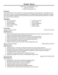 best resumes exles for retail employment best retail parts pro resume exle livecareer