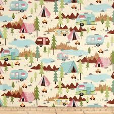 Home Decor Print Fabric Timeless Treasures Camping Allover Cream Discount Designer