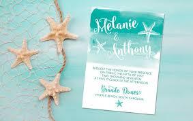 beachy wedding invitations wedding invitation card starfish invitation watercolor