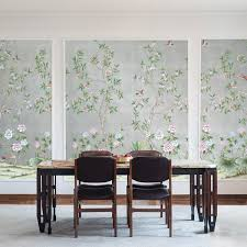 chinoiserie lilly metallic silver tempaper designs