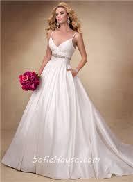ball gown deep v neck spaghetti strap taffeta wedding dress