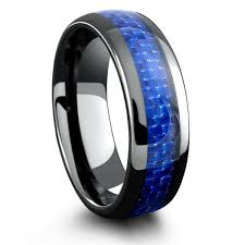 mens blue wedding bands mens black ceramic wedding band with blue woven carbon fiber inlay