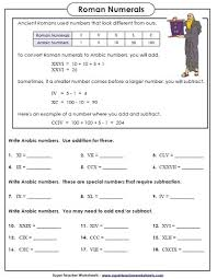 roman numeral worksheets