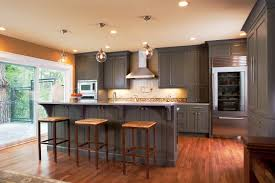 grey wood kitchen cabinets wonderful brown mahogany wood floor in kitchen wooden bar stools