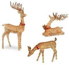 outdoor lighted pre lit 3 pc deer family display yard