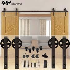 Track For Sliding Barn Door Winsoon 5 16ft Sliding Barn Door Hardware Double Doors Track Kit