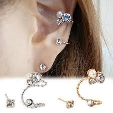 clip on stud earrings 2017 womens pearl rhinestone ear clip ear stud