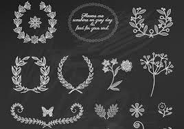 chalk floral ornament vectors free vector