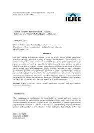 teacher variables as predictors of academic achievement of primary