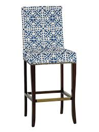 transitional bar stool with bold blue and white patterned fabric