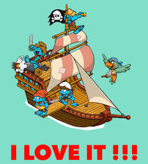 nd please add a large pirate ship smurfy wonder for island that