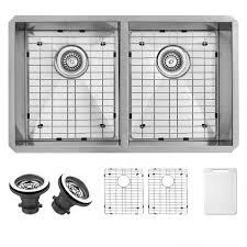 home depot double stainless steel sink vigo undermount stainless steel 32 in double bowl kitchen sink