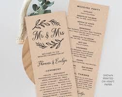 wedding program template folded printable ceremony order of