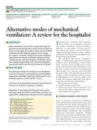 alternative modes of mechanical ventilation a review for the