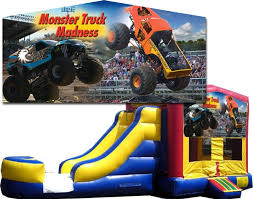 monster truck banner bounce slide combo wet dry 1 lane