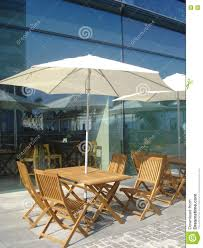 Patio Table Parasol by Outdoor Cafe Near Office Building Stock Photo Image 74885162