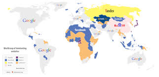Picture Of A World Map by World Map Of Dominating Websites Visual Ly