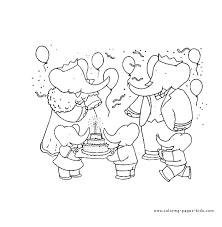 babar color coloring pages kids cartoon characters