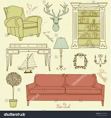 set furniture icons living room furniture stock vector 106469132