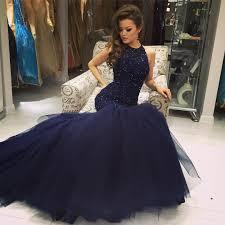 beaded navy blue mermaid prom dress formal gown tulle skirt