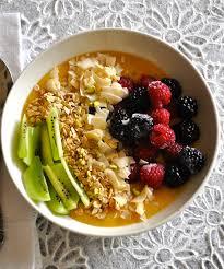 healthy vegan breakfast bowl with mango pudding ordinary vegan