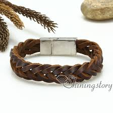 leather bracelet woven images Genuine leather bracelet mesh woven bracelet handcraft macrame jpg